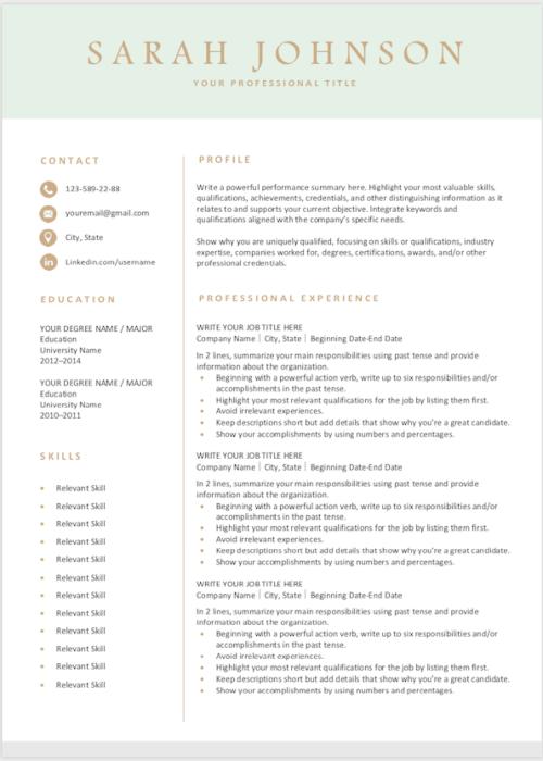 Resume light green s