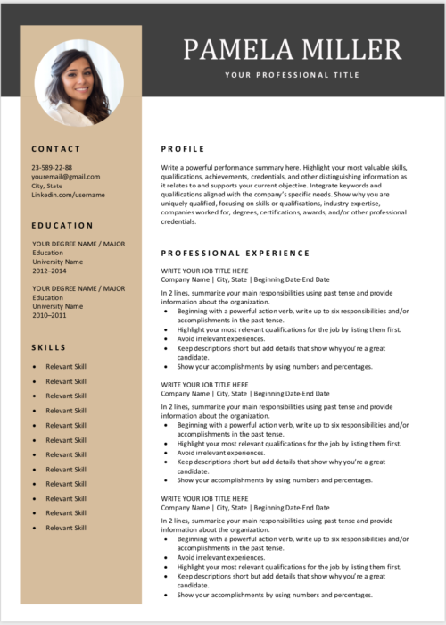 free resume template gray gold