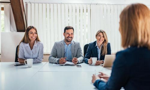 Successful job interview.