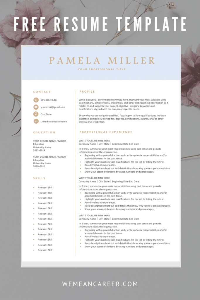 Free Resume Template – Light Blue