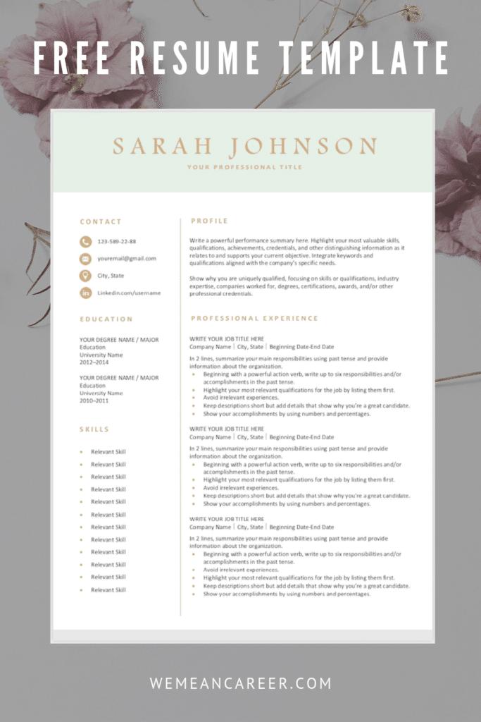 Free Resume Template – Light Green