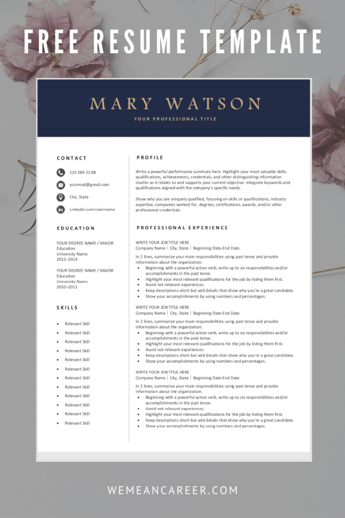 Free Resume Template Word