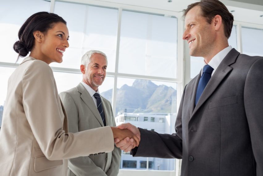 Smiling business people shaking hands with smiling colleague them on the background