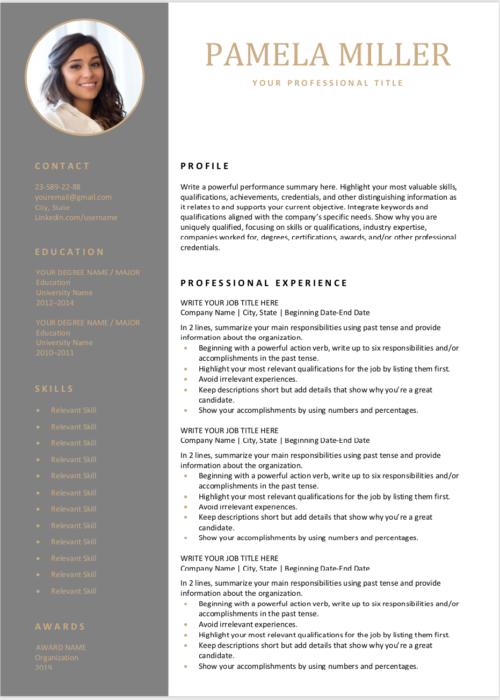 editable resume dark gray min