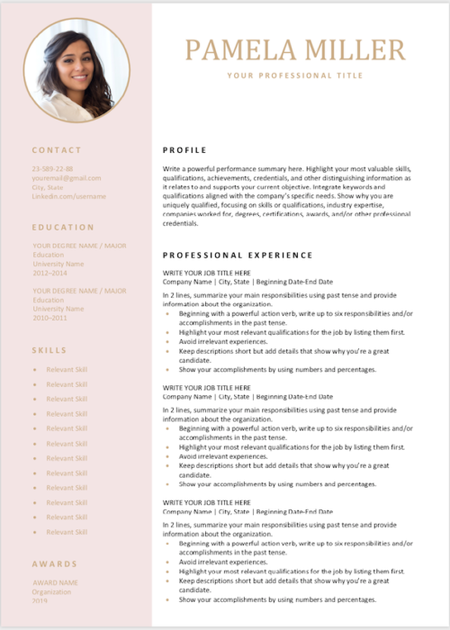 editable resume pink min