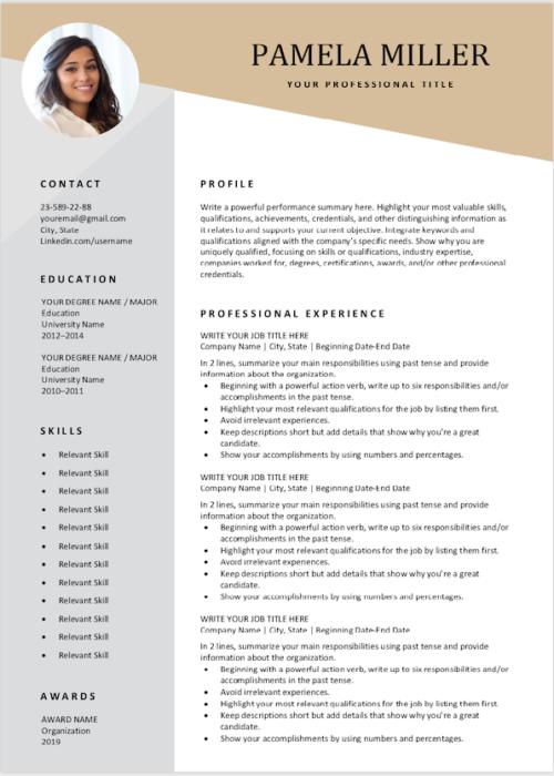modern resume gold min