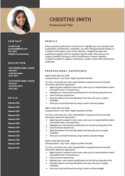 2 pages resume gold min