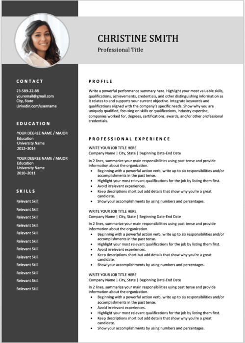 2 pages resume gray min