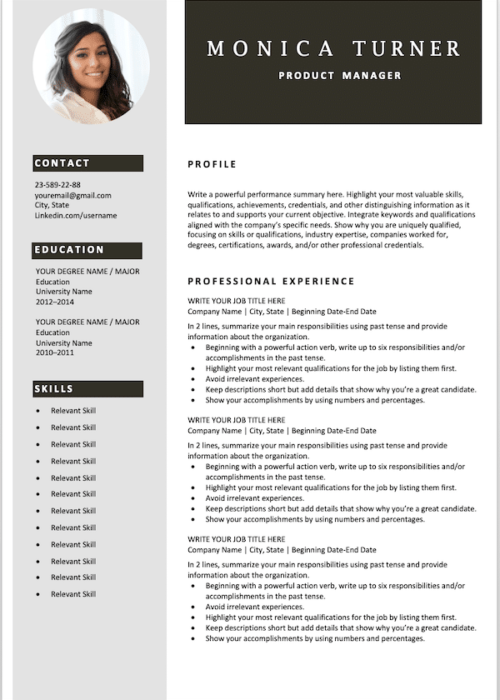 resume template gray min