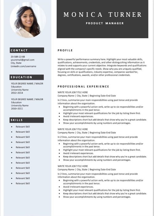 resume template blue min