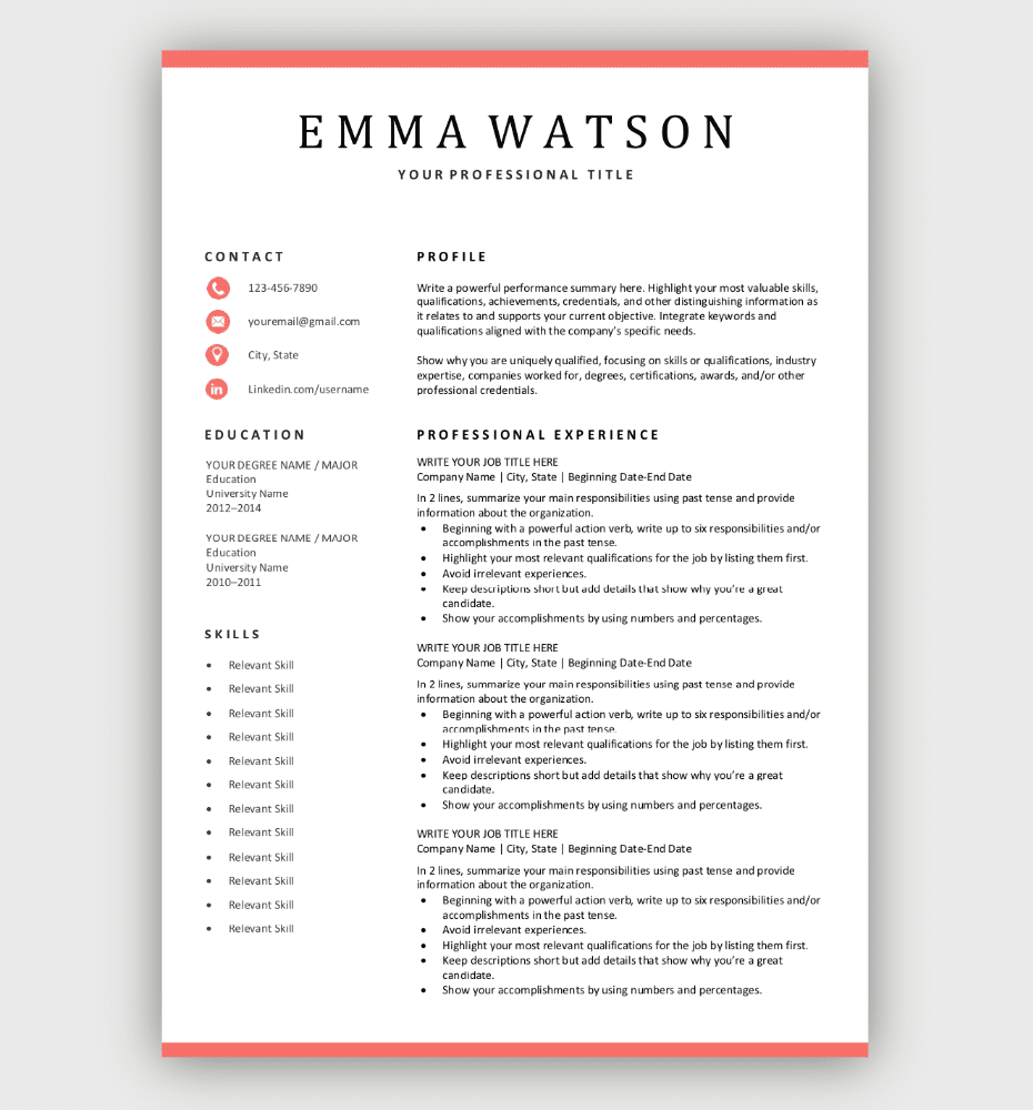 Simple Resume Template Coral