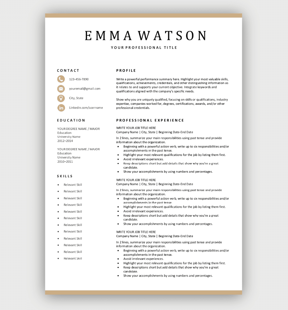 Simple Resume Template Gold