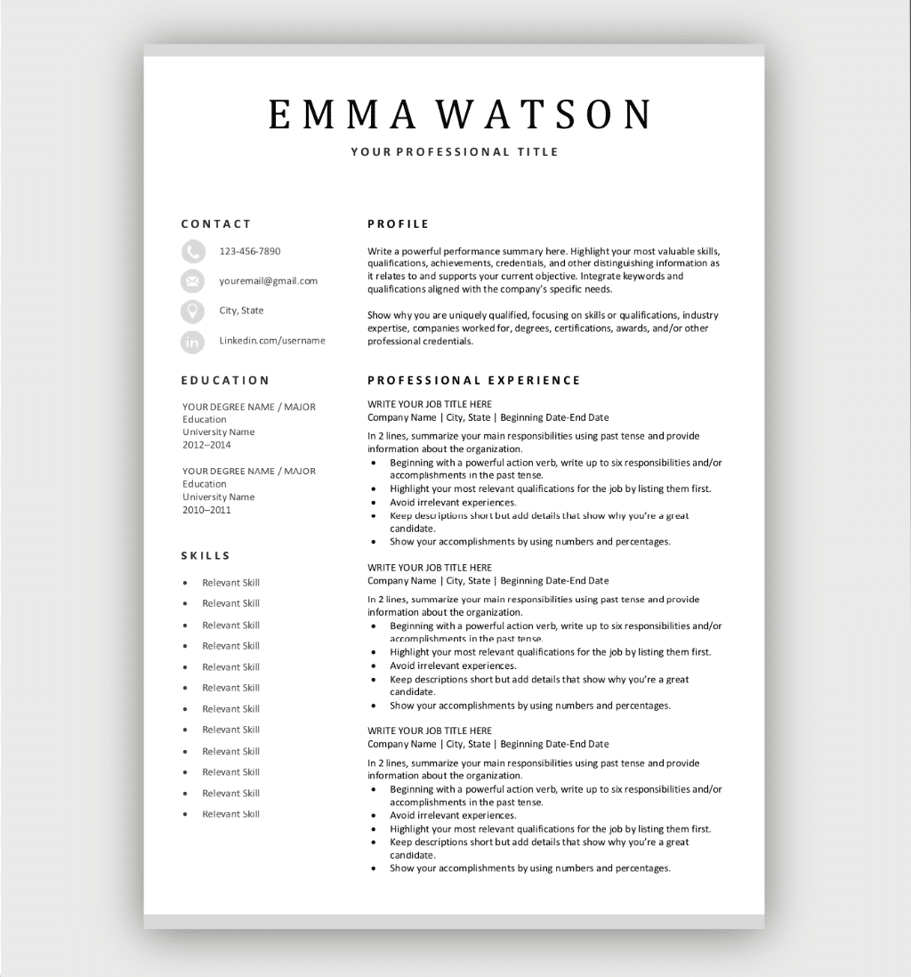 Simple Resume Template Gray