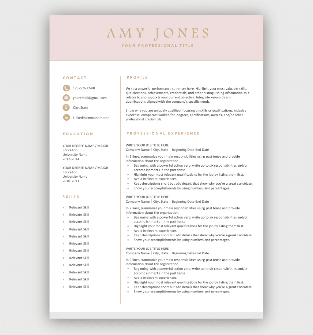 Beautiful Resume Template Free Download