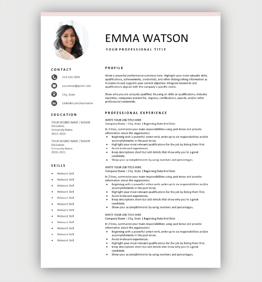 Simple Resume with Photo