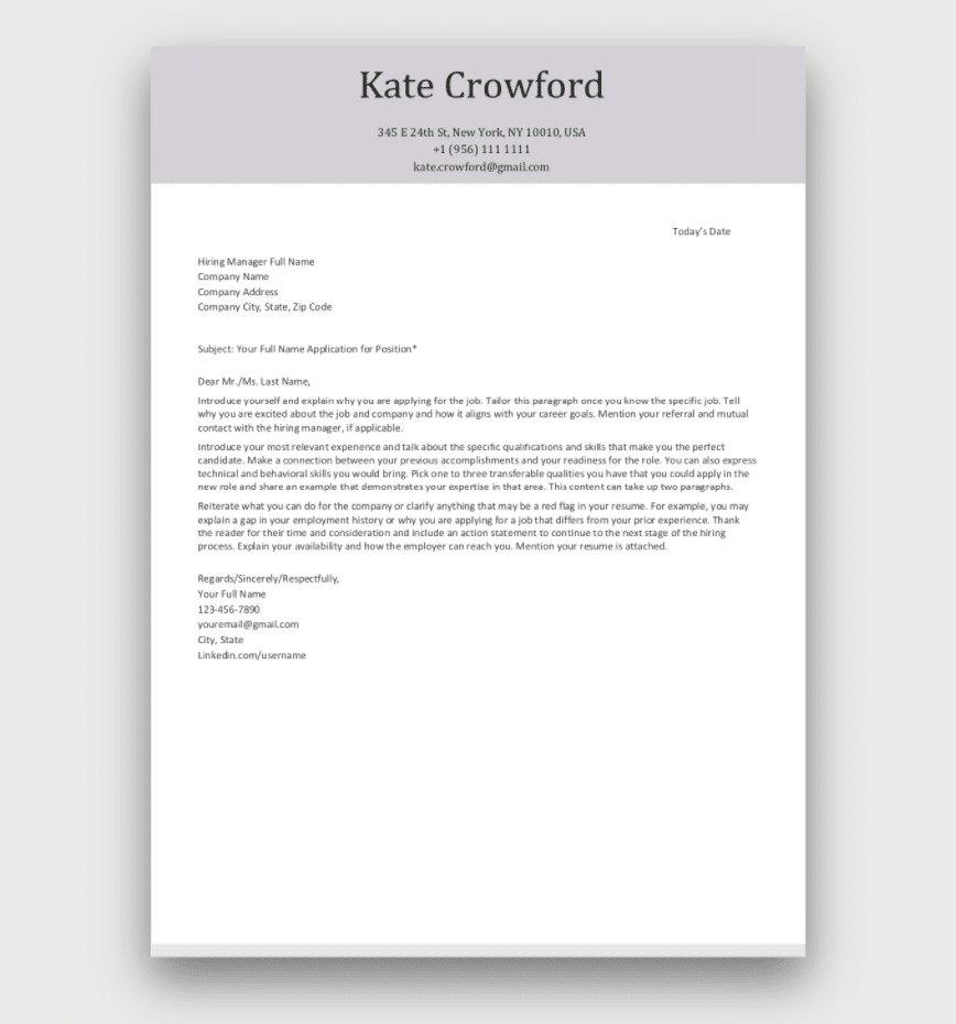 Cover Letter Template Free from wemeancareer.com