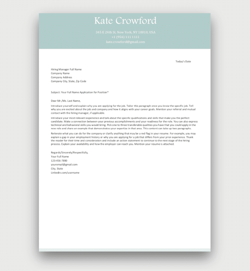 Free Cover Letter Template Green