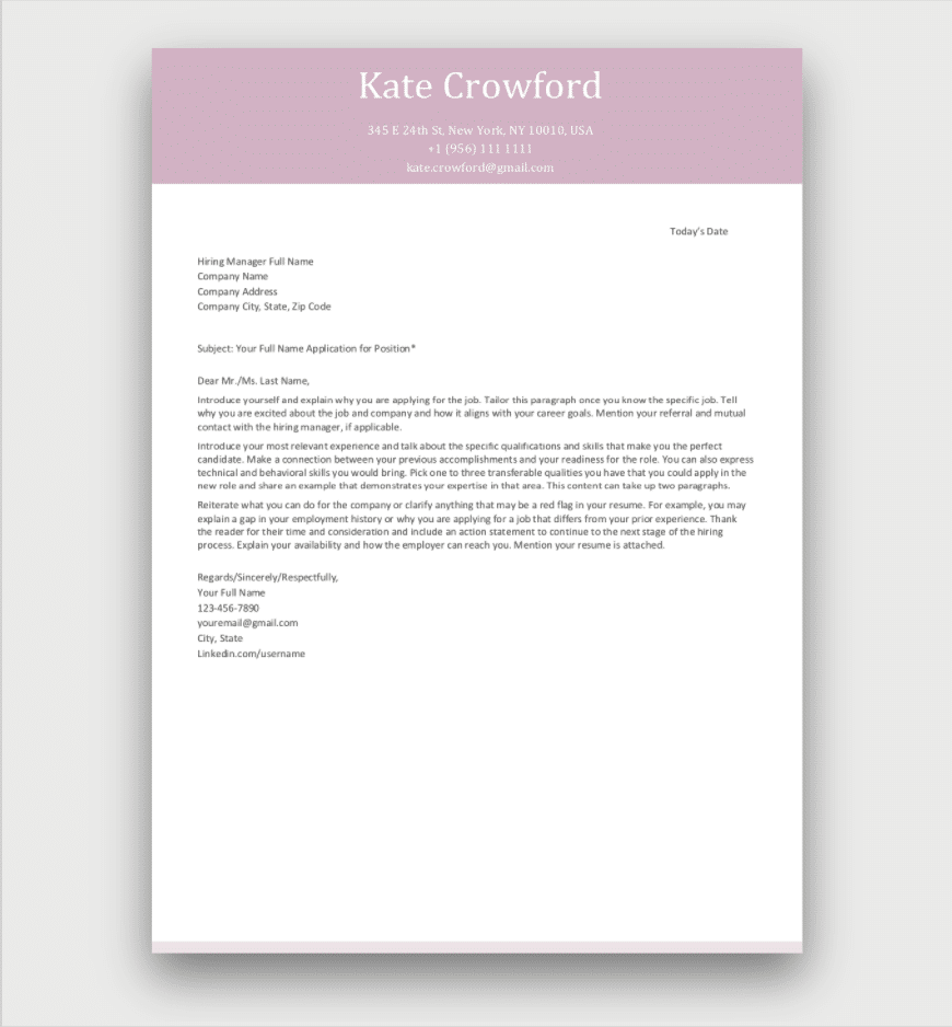 Free Cover Letter Template Pink