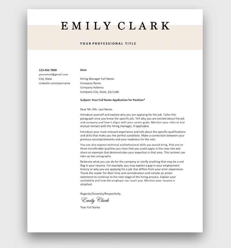Free Cover Letter Templates To Download