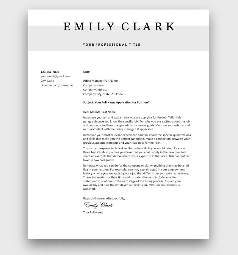 Letter for job application