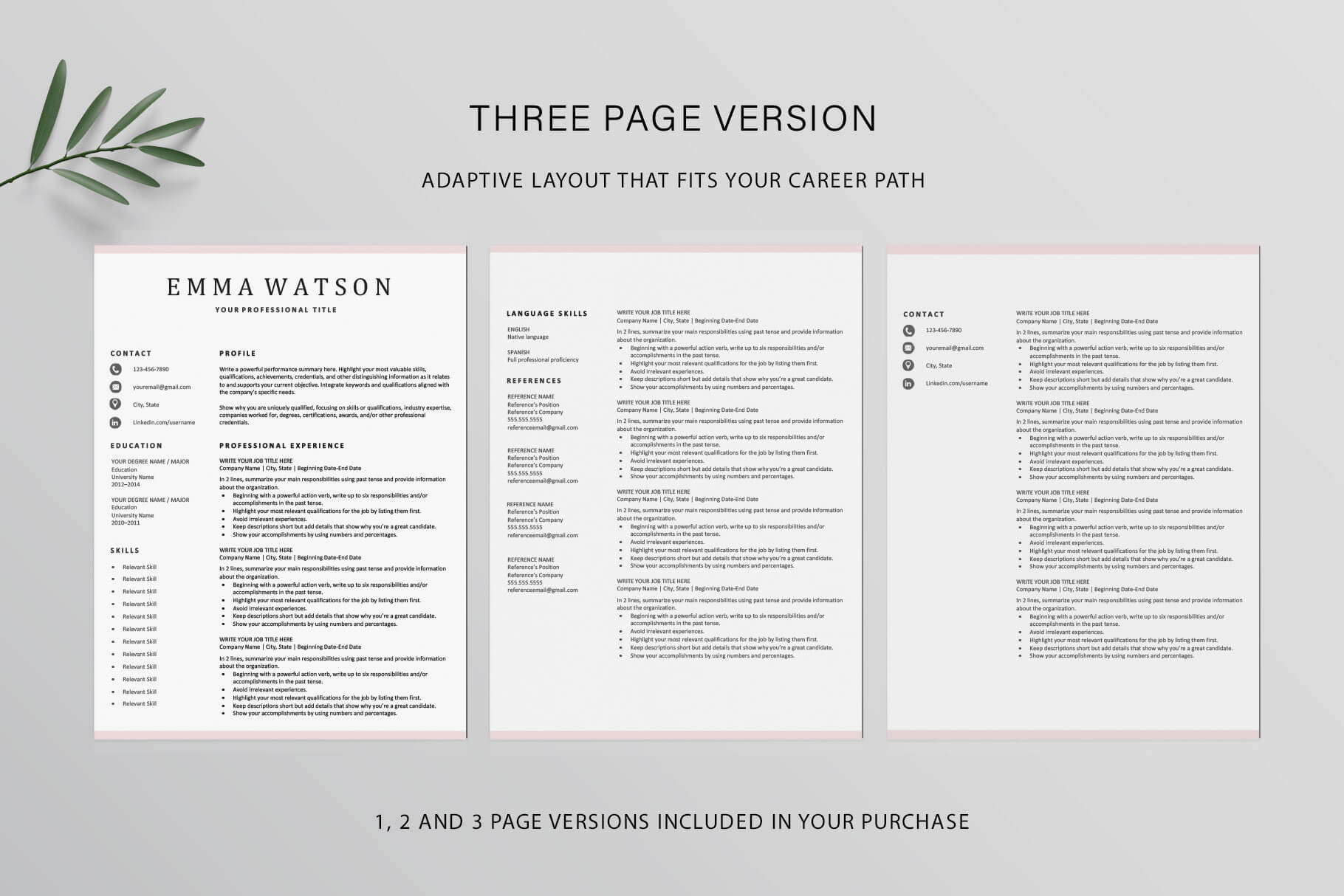 3 page resume template instant download